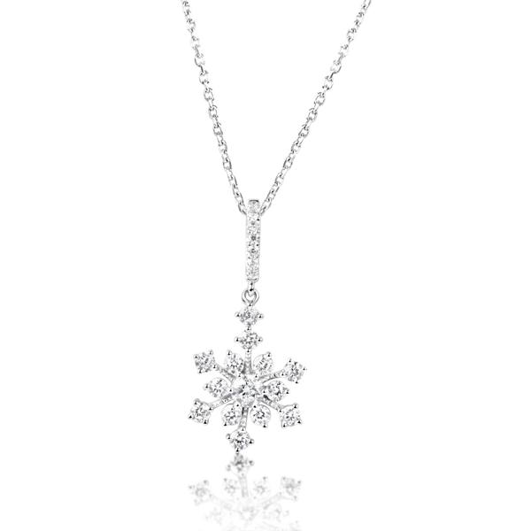 S kashi white gold snowflake diamond pendant aloadofball Image collections